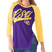 G-III For Her LSU Tigers Purple/Gold Halftime Three-Quarter Raglan T-Shirt