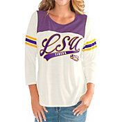 G-III For Her Women's LSU Tigers White Endzone Three-Quarter Sleeve T-Shirt