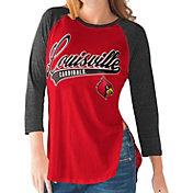 G-III For Her Louisville Cardinals Cardinal Red/Black Halftime Three-Quarter Raglan T-Shirt