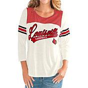 G-III For Her Women's Louisville Cardinals White Endzone Three-Quarter Sleeve T-Shirt
