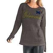 G-III For Her Women's Michigan Wolverines Charcoal Offseason Pull-Over Shirt