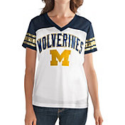 G-III For Her Women's Michigan Wolverines White/Blue Free Agent V-Neck T-Shirt