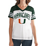 G-III For Her Women's Miami Hurricanes White/Green Free Agent V-Neck T-Shirt