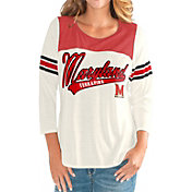 G-III For Her Women's Maryland Terrapins White Endzone Three-Quarter Sleeve T-Shirt