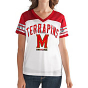 G-III For Her Women's Maryland Terrapins White/Red Free Agent V-Neck T-Shirt