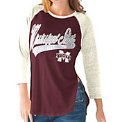 G-III For Her Mississippi State Bulldogs Maroon/White Halftime Three-Quarter Raglan T-Shirt