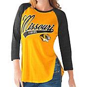 G-III For Her Missouri Tigers Gold/Black Halftime Three-Quarter Raglan T-Shirt