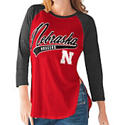 G-III For Her Nebraska Cornhuskers Scarlet/Black Halftime Three-Quarter Raglan T-Shirt