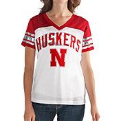 G-III For Her Women's Nebraska Cornhuskers White/Scarlet Free Agent V-Neck T-Shirt