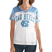 G-III For Her Women's North Carolina Tar Heels White/Carolina Blue Free Agent V-Neck T-Shirt