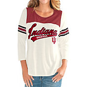 G-III For Her Women's Indiana Hoosiers White Endzone Three-Quarter Sleeve T-Shirt