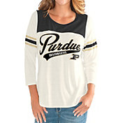G-III For Her Women's Purdue Boilermakers White Endzone Three-Quarter Sleeve T-Shirt