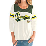 G-III For Her Women's Oregon Ducks White Endzone Three-Quarter Sleeve T-Shirt