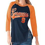 G-III For Her Syracuse Orange Blue/Orange Halftime Three-Quarter Raglan T-Shirt