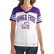 G-III For Her Women's TCU Horned Frogs White/Purple Free Agent V-Neck T-Shirt