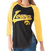 G-III For Her Iowa Hawkeyes Black/Gold Halftime Three-Quarter Raglan T-Shirt