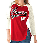 G-III For Her Wisconsin Badgers Red/White Halftime Three-Quarter Raglan T-Shirt