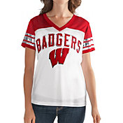 G-III For Her Women's Wisconsin Badgers White/Red Free Agent V-Neck T-Shirt