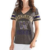 G-III For Her Women's Washington Huskies Grey In the Finals V-Neck T-Shirt