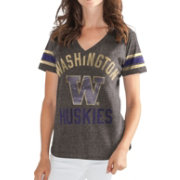 G-III For Her Women's Washington Huskies Grey In the Finals V-Neck T-Shirt
