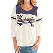 G-III For Her Women's Washington Huskies White Endzone Three-Quarter Sleeve T-Shirt