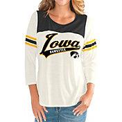G-III For Her Women's Iowa Hawkeyes White Endzone Three-Quarter Sleeve T-Shirt