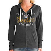 Touch by Alyssa Milano Women's Pittsburgh Steelers Tri-Blend Full-Zip Black Hoodie