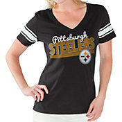 Touch by Alyssa Milano Women's Pittsburgh Steelers Foil V-Neck Black T-Shirt