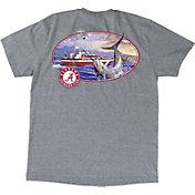 Guy Harvey Men's Alabama Crimson Tide Heathered Grey Fishing Club T-Shirt