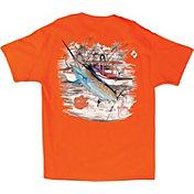 Guy Harvey Men's Clemson Tigers Orange Collegiate Boat T-Shirt