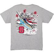 Guy Harvey Men's NC State Wolfpack Grey Collegiate Boat T-Shirt