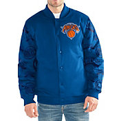 Starter Men's New York Knicks Button Down Varsity Bomber Jacket