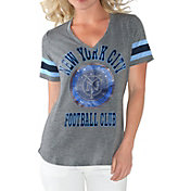 G-III For Her Women's New York City FC Triple Play Grey T-Shirt