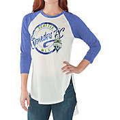 G-III for Her Women's Seattle Sounders Tailgate Three Quarter Sleeve Vintage White T-Shirt