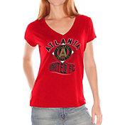 G-III for Her Women's Atlanta United Fair Catch Red V-Neck T-Shirt
