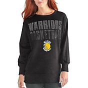 G-III Women's Golden State Warriors Black Showtime Crew Fleece