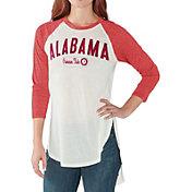 G-III For Her Women's Alabama Crimson Tide White/Crimson Tailgate Three-Quarter Raglan T-Shirt