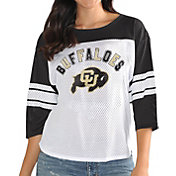 G-III For Her Women's Colorado Buffaloes White/Black First Team Three-Quarter Sleeve T-Shirt