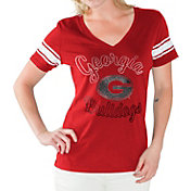 G-III For Her Women's Georgia Bulldogs Red First Pick V-Neck T-Shirt