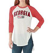 G-III For Her Women's Georgia Bulldogs White/Red Tailgate Three-Quarter Raglan T-Shirt