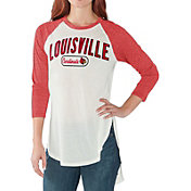 G-III For Her Women's Louisville Cardinals White/Cardinal Red Tailgate Three-Quarter Raglan T-Shirt