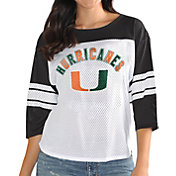 G-III For Her Women's Miami Hurricanes White/Black First Team Three-Quarter Sleeve T-Shirt