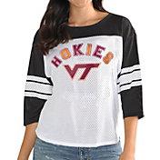 G-III For Her Women's Virginia Tech Hokies White/Black First Team Three-Quarter Sleeve T-Shirt