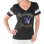 G-III For Her Women's Washington Huskies Black First Pick V-Neck T-Shirt