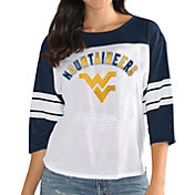 G-III For Her Women's West Virginia Mountaineers White/Blue First Team Three-Quarter Sleeve T-Shirt