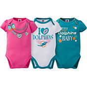 Gerber Infant Girl's Miami Dolphins 3-Piece Onesie Set