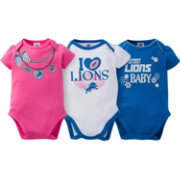 Gerber Infant Girl's Detroit Lions 3-Piece Onesie Set