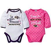 Gerber Infant Girl's Baltimore Ravens 2-Piece Long Sleeve Onesie Set