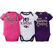 Gerber Infant Girl's Baltimore Ravens 3-Piece Onesie Set