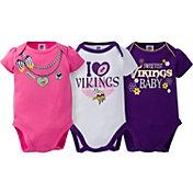 Gerber Infant Girl's Minnesota Vikings 3-Piece Onesie Set
